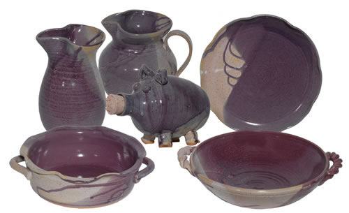 Eggshell Grape pottery pieces